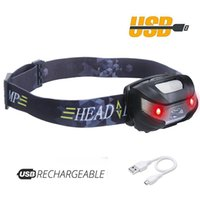 Headlamp LED Rechargeable Running Headlamps USB CREE 5W Head...