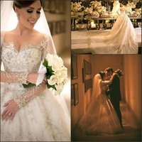 Luxurious Sheer Long Sleeve Illusion Beads Wedding Dresses L...