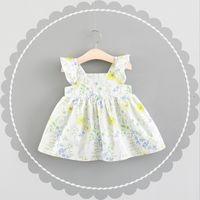 Meninas Ruffle mangas Vestidos Florais Verão 2018 Crianças Boutique Roupas Coreano 1-4T Meninas Cute Algodão Vestidos Sleeveless Ofertas especiais