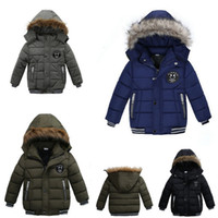Boys Winter Jackets Korean Thick Hooded Cotton Padded Kids F...