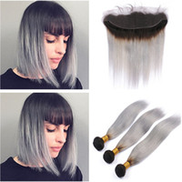 Silky Straight # 1B / Grey Ombre Ear to Ear 13x4 Lace Frontal Closure with Weave Bundles Virgin Indian Ombre Silver Grey Paquetes de cabello humano