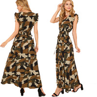 Abiti da donna Casual Ruffle Armhole Shirred Waist Split Camo Dress Una linea vestiti unici