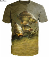 2018 Cool MAN Animal impreso carpa pesca pesca hombre camiseta única moda animal impreso Desgin camiseta Top Tees