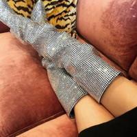 2018 Super hot di cristallo di lusso donne sopra gli stivali al ginocchio Sexy punta a punta delle signore dito stivali tacco alto Stivali cavaliere moda