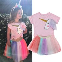Kids Girls Unicorn Pink T- shirt Tutu Rainbow Skirt Dresses O...