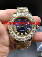 럭셔리 43mm 발톱 베젤 큰 다이아몬드 자동 남자 시계, 고품질 스테인레스 스틸 남자 시계 (파란색) 최고 품질
