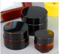 10ml 15ml 20ml 30ml 50ml frasco de vidrio de ámbar con tapa negra contenedor de cera crema cosmética almacenamiento de almacenamiento