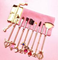 Sailor Moon 8 pezzi Pennelli trucco Cardcaptor Sakura Pennelli trucco professionale Ombretto Foundation Blush Set di pennelli cosmetici Kit drop ship