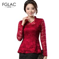 FGLAC 2018 Spring Woman lace shirt Hollow out Fashion Casual...