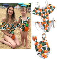 mother and daughter swimwear Summer pineappler falbala shoul...