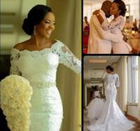 Vestidos de novia de encaje de manga larga Vestidos de novia de encaje de sirena nigeriana africana Vestidos de novia fuera del hombro Vestidos de talla grande Vestidos de Novia