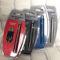 Neueste Unterseite justierbare Spannung 2v zu 4v 350mAh 510 Fadendrehung Vape Batterie mit USB-Ladegerät für leere Vape Stift-Patronen mit Muschelschale