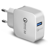 Caricatore da muro QC 3.0 Qualcomm USB Quick Charge 5V 3A 9V 2A 12V 1.5A Travel Power Adapter Ricarica rapida US EU Plug per iphone Samsung 200PCS /