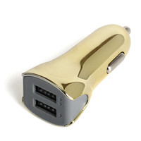 2 порта автомобильное зарядное устройство завод из новых гальванических золотое покрытие акула стиль мигает 5 в 3.1 A 2USB автомобильное зарядное устройство адаптер для iphone Samsung huawei