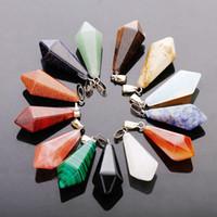 Mode Sechseckige kugel teardrop Halskette Charms Anhänger Natürliche Kristall Quarz stein Chakra perlen schmuck für frauen freies verschiffen