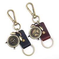 Erkekler Kadınlar İçin Araç Keys Siyah Kahverengi Renk Ağır Hizmet Alaşım Çalar Saat Araba Anahtarlık için Sevimli Anahtarlık anahtarlıklar Retro