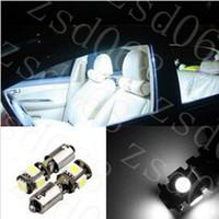 2pcs voiture BAX9s H6W 5SMD Auto LED CANBUS côté feux de stationnement Lampe Ampoules diy blanc bleu