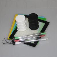 1 conjunto Conjunto De Cera De Silicone Conjunto com almofadas de folhas quadradas mat barril tambor 26 ml de óleo de silício recipiente dabber ferramenta para erva seca frascos dab