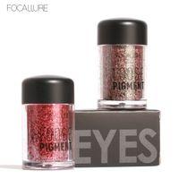 2018 Nuevo maquillaje Sombras de pigmento suelto Ojo Mineral en polvo Oro Rojo Metálico Focallure Suelto Brillo Sombra de ojos Color Maquillaje 12 colores