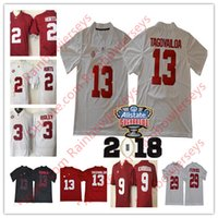 Алабама Crimson Tide # 13 Tua Tagovailoa 2 Jalen Hurts 3 Ridley 29 Fitzpatrick 9 Scarbrough 2018 NCAA Championship Sugar Bowl College Jerseys