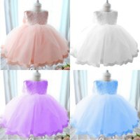Girls Dresses Pageant Princess Flower Wedding Party Bridesmaid Flower Sleeveless Formal Ball Gown Lace Dress Summer Girl