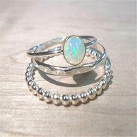 3 stks Sprankelen Massief Sterling Zilver Natuurlijke Gemstone Fire Opal Diamond Ring Set Wedding Engagement Sieraden