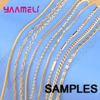 """YAAMELI Sample 9Pcs Mix 9 Styles 18"""" Yellow Gold Filled Jewelry Link Necklace Chains With Lobster Clasps Findings Stamped"""