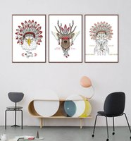 Modern Indian animal- headed deer and horse zebra poster prin...
