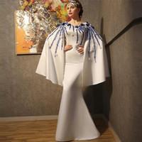 Elegant Muslim Evening DressesWith Wrap 2018 Mermaid V-neck Beaded Islamic Dubai Party Dress Saudi Arabic Long Evening Gown Prom Dresses