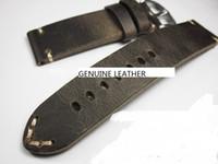 Grau superior de couro de cavalo louco feito à mão pulseira de relógio pulseira pulseira de relógio de couro genuíno pulseira de relógio peças de reposição acessório mudança