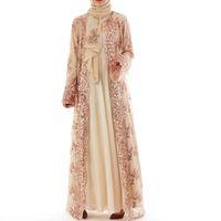 2018 Abaya Dubai Lüks Yüksek Sınıf Sequins Müslüman Elbise Nakış Dantel Ramazan Kaftan İslam Kimono Kadınlar Türk Eid Mubarak