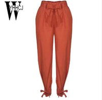 WYHHCJ 2018 nuove donne casual vita alta pantaloni a matita solido tasche con coulisse harem pantaloni telai pantalon femme pantaloni donne