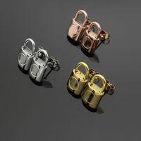 Titanyum Çelik L Kilit Kulak Saplama Küpe Saplama Küpe kadın takı için gül altın saplama küpe
