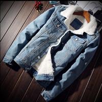 2018 Homens Winter Jacket Windbreaker Além disso casaco de veludo Quente Casual bolso dos retalhos Hip Hop Jacket Streetwear Homme Denim