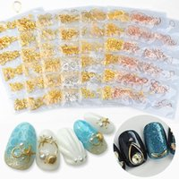 Or Argent Métal Creux Mixte Cadre 3D Nail Art Décorations Océan Seashell Goujons Métalliques Rivets DIY Manucure Accessoires