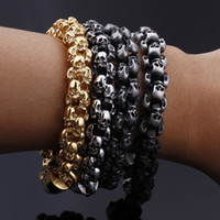 Punk Rock Skull Charm Bracelet Men High Quality Hiphop Gold ...