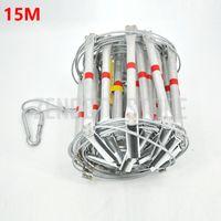 15M Échelle anti-incendie 50FT Échelles de corde en acier pliantes en alliage d'aluminium de secours en survie, sécurité, sauvetage, antidérapantes