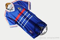 Envío gratis 1998 francia zidane henry petit deschamps blanc jersey de fútbol viejo