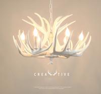 Girban Marque Bougie Antler Lustre Rétro résine corne de cerf Lampes Blanc Décoration Plafond Luminaire E14