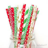 200 Teile / los Spezielle Design Weihnachten Papierstrohe FDA Zertifiziert Umweltfreundliche Soja Tintendruck Papierstrohe kinder geburtstagsparty hochzeit