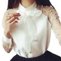 Şifon Gömlek Uzun Kollu Gömlek Zarif Organze Yay Inci Beyaz Bluz Rahat Moda Gömlek Kadın Bluzlar Blusas Femininas Tops