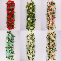 25 * 100 cm Elegantes Filas de Flores Artificiales Wedding Centerpieces Road Cited Flower Table Runner Decoración Suministros Envío Gratis