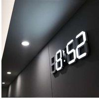 3D LED 벽 시계 가정용 거실 사무실에 대 한 현대 디지털 테이블 데스크탑 알람 시계 밤 빛 Saat 벽 시계 24 또는 12 시간