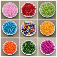 500pcs / lot Tamaño 8mm 20 colores recta agujero redondo joyería y accesorios Beadst ABS bola de plástico imitación grano de la perla para el cabrito de bricolaje