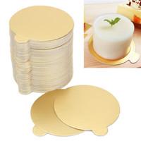 100st / set Round Mousse Cake Boards Gold Paper Cupcake Dessert Displayer Fack Bröllop Födelsedagstårta Pastry Decorative Tools Kit