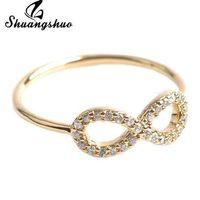 Shuangshuo Multicolor Silber Unendlichkeit Freundschaft Ring mit Kristall-bester Freund Ringe Hochzeit Verlobung Schmuck Ringe für Frauen