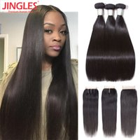 100% Remy Human Hair Bundles with 4x4 Top lace Closure Malay...