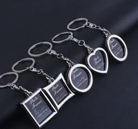 새로운 사진 프레임 라운드 심장 타원형 마름모 모양의 금속 합금 키 체인 열쇠 고리 자동차 Keychains 커플 Keyring 비즈니스 선물
