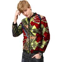 2a0b3873eb43 Dashiki Kleidung Männer Afrika Muster Druck Stehkragen Ankara Mäntel  afrikanische Jacke afrikanische Druckmäntel männlich Afrika Kleidung