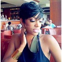 Brezilyalı Saç Kısa İnsan Saç hiçbiri dantel Peruk Tutkalsız Tam Dantel Peruk Pixie Cut İnsan Saç Siyah Kadınlar için perukları